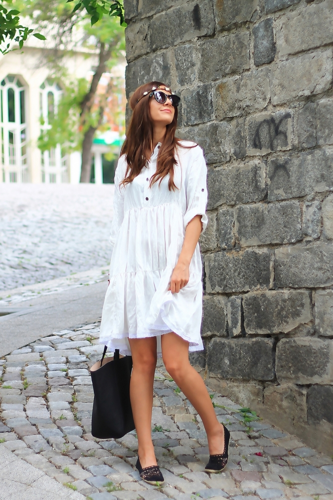 Cute white boho dress